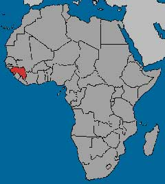 Guinea in Africa map